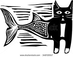 Woodcut style image of a catfish mermaid - stock vector