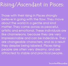 THE WORLD OF ASTROLOGY: Pisces Rising. Ascendant in Pisces.
