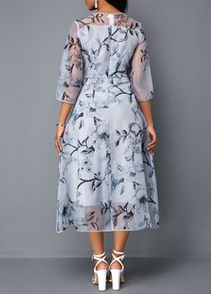 9c3d74590555 Flower Print Three Quarter Sleeve Chiffon Dress | Rosewe.com - USD $36.80