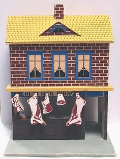 "vintage Kummerow dollhouse toy 10"" BUTCHER SHOP store wood & paper,6 meat blocks #LCKummerow"