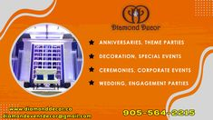 Call 905-564-2215 Diamond Decor for all types of parties decor and designing services in Mississauga, Canada. We provide Corporate events, Wedding parties, receptions, special events, baby showers, etc., many more event decor services. Theme Parties, Party Themes, Wedding Parties, Diamond Decorations, Dream Party, Party Venues, Host A Party, Event Management, Receptions