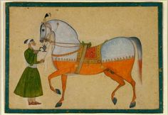 A royal stallion and its groom  (873)     A royal stallion and its groom. India, Rajasthan, Kishangarh. Early 18th century. Opaque watercolour, gold and silver on paper. h 32.4 x w 22.2 cm. Acquired 1983. Robert and Lisa Sainsbury Collection. UEA 873