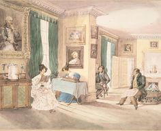Here's another in the series of watercolors by the unnamed Daughters of Bishop Parr, and yes, there's another woman industriously writing away with a long pen in hand, her narrow desk or table almost entirely filled by the oversized inkstand, while her sister or friend reads, ankles neatly crossed. In the next room, two gentlemen play chess while another watches. Again, so much splendid early 19thc decor here, from the many paintings on the walls (I particularly like the portrait of the…