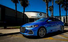 Download wallpapers Hyundai Elantra, 4k, 2017 cars, korean cars, blue Elantra, Hyundai