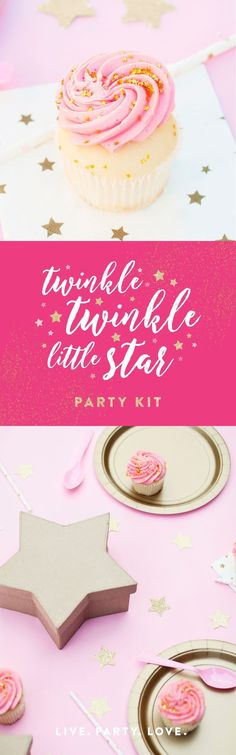 Twinkle Twinkle Little Star Party Kit | A curated collection of pink, gold, white and gold star party supplies. Perfect for a first birthday. Kids birthday party decorations, party supplies, table decorations, confetti balloons and more. via @livepartylove