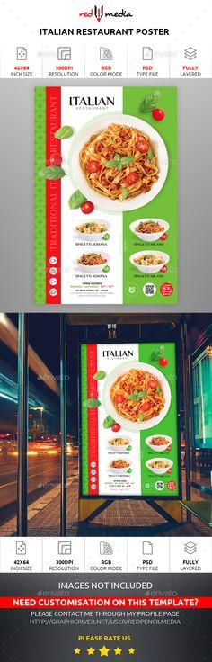 Buy Italian Restaurant Poster by REDPENCILMEDIA on GraphicRiver. Italian Restaurant Poster Italian Restaurant Poster Features and technical specs: Pizza Poster, Restaurant Poster, Print Templates, Flyer Template, Hamburger, Catering, Print Design, Advertising, Menu