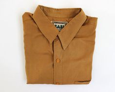 rust brown men shirt / vintage mustard men shirt short sleeves / button up shirt size medium-large