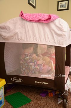 Turn a pack and play into a sturdy play tent!