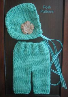 Knit Baby Pants Pattern and Knit Baby Bonnet Pattern