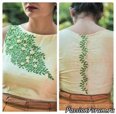 Have voil top but have the embroidery going across boobs so no need for a vest. New Saree Blouse Designs, Saree Jacket Designs, Saree Blouse Patterns, Fancy Blouse Designs, Embroidery On Kurtis, Hand Embroidery Dress, Embroidery Neck Designs, Embroidery Fashion, Stylish Blouse Design