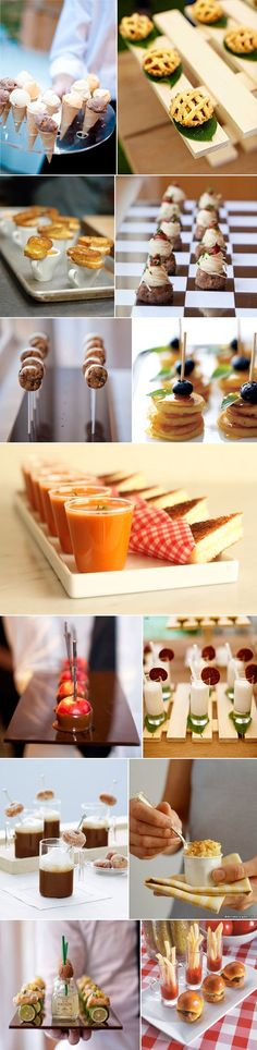 "Mini foods are SO cute! ""Wedding Midnight Snacks- very thoughtful love it! Tapas, Aperitivos Finger Food, Snacks Für Party, Wedding Snacks, Wedding Foods, Wedding Appetizers, Wedding Ideas, Party Fiesta, Good Food"