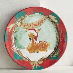 Merry Christmas Deer Melamine Salad Plate