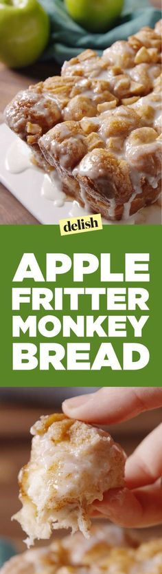 Fritter Monkey Bread Apple Fritter Monkey Bread is the best thing to do with the apples you pick this weekend. Get the recipe on .Apple Fritter Monkey Bread is the best thing to do with the apples you pick this weekend. Get the recipe on . Apple Desserts, Apple Recipes, Fall Recipes, Delicious Desserts, Yummy Food, Bread Recipes, Chicken Recipes, Shrimp Recipes, Casserole Recipes
