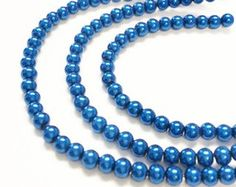 4mm pearl beads, blue glass pearls, jewelry making beads, crafting beads, colored pearls, imitation pearls, pearlized beads by vickysjewelrysupply. Explore more products on http://vickysjewelrysupply.etsy.com