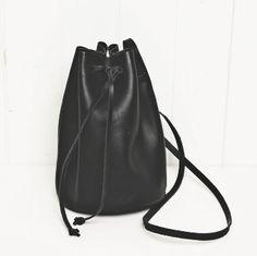Black leather bucket bag cross body mini