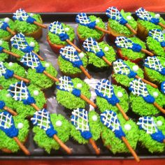 Lacrosse cupcakes using pretzel sticks