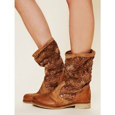 Hannah McKay boots, only more girly Crochet Bunker Boot found on Polyvore