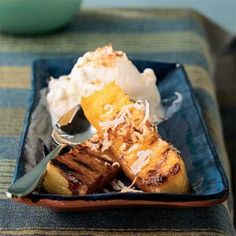 Read comments for suggestions and let it soak longer for more flavor. Rum-Spiked Grilled Pineapple with Toasted Coconut Recipe