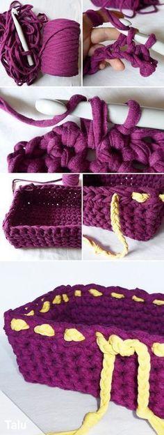 kostenlose anleitung f r ein korb aus textilgarn mars pinterest textilgarn k rbchen und. Black Bedroom Furniture Sets. Home Design Ideas