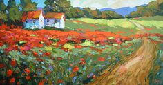 Field with poppies near the vilage Oil on canvas Painting by