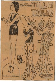 Tillie the Toiler vintage paper doll set, 1933. #vintage #1930s #paper_dolls