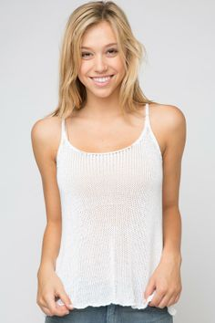 Brandy ♥ Melville   Stacy Knit Tank - Clothing Summer Wear, Summer Outfits, Casual Outfits, Cute Outfits, Summer Clothes, Knitted Tank Top, Dress For Success, Dress Me Up, Brandy Melville