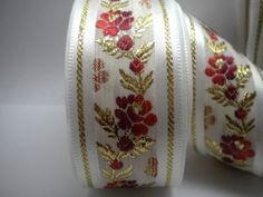 Satin Floral Jacquard Ribbon Trim ,Red Flowers and Leaves Trim 35mm,Floral Embroidered Trim, Flower Ribbon,  Wedding Ribbon, Decorative Trim