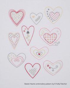 Sweet Hearts modern hand embroidery pattern - modern embroidery PDF pattern, digital download