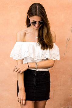 Black Mini Skirt and White Off Shoulder Shirt || Outfit Morocco