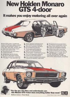 Covers the HQ Monaro GTS 350 which was sold by Holden in Australia in also has the Late Peter Brock giving his 2 cents worth on this Monaro. Australian Muscle Cars, Aussie Muscle Cars, Hq Holden, Holden Muscle Cars, Holden Monaro, Holden Australia, Car Brochure, Car Posters, Car Advertising