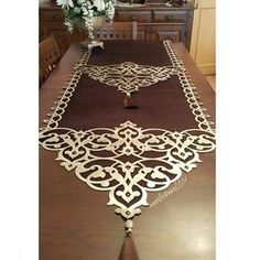 This Pin was discovered by Ayn Table Runners, Felt Crafts, Diy And Crafts, Motifs Islamiques, Leather Tooling Patterns, Crochet Curtains, Arabic Design, Mediterranean Home Decor, Ramadan Decorations