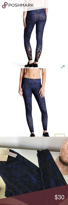 Balance Collection blue printed Lace leggings Brand: Balance Collection (deep cobalt python workout leggings / tights) brand new with tags Electric Yoga Pants Leggings