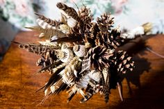 Laura and Emlyn's 'Pine Cones and Feathers' Staffordshire Tipi Wedding by Faye Ford Photography Non Flower Bouquets, Winter Bridal Bouquets, Wedding Bouquets, Wedding Flowers, Wedding Dresses, Tipi Wedding, Wedding Blog, Wedding Ideas, Flora Farms