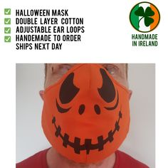 Cotton face mask/cover Pumpkin Head, Halloween Masks, Handmade Shop, Layers, Cover, Face, Prints, Cotton, Layering
