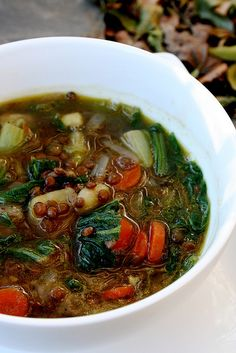 Simple Lentil Soup - onion, garlic cloves, carrots, sweet potato, green lentils, mild greens (e.g. Chinese cabbage, kale, spinach, chard, etc.), vegetable broth, salt & pepper, olive oil (would reduce or omit)