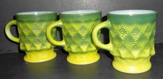 Vintage Mug, Fire King, Green, Anchor Hocking, Kimberly Pattern, Coffee Cup, Coffee Mug, Milk Glass, Stacking, Set of Three, Retro Mugs by TheBackShak on Etsy