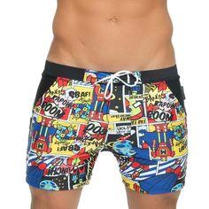 TenMet Mens Red Solid Drawstring Waist Low Rise Swim Briefs Boxer Short Square Leg Swimsuit Swimwear Beachwear