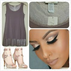 Shimmer Dress Shimmery sleeveless dress. Has shimmer around ribbing at top and shimmer band at bottom. Dress is a unique grayish-rose hue. Prelude Dresses