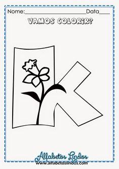 Alfabetos Lindos: Alfabeto de Primavera para colorir, pintar, imprimir grátis - Moldes de letras com flores e moldes de numerais