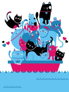 All cats on deck. ~*~ illustration created by Aaron Miller for the Squiddles exhibition in memory of Emma Wilkinson. Unique illustrations were created based on Emma's 2 favourite things: cats and sailors. I Love Cats, Crazy Cats, Cool Cats, Silly Cats, Lots Of Cats, Cat Paws, Cat Drawing, Whimsical Art, Cats And Kittens
