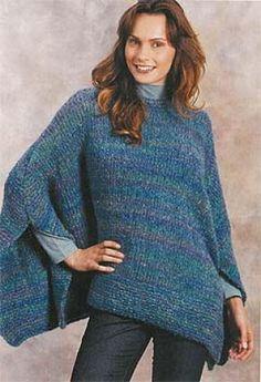 Ravelry: Colorwaves Poncho pattern by Lion Brand Yarn - Super knitting Poncho Au Crochet, Poncho Knitting Patterns, Poncho Shawl, Knitted Poncho, Knitted Shawls, Loom Knitting, Knit Patterns, Knit Crochet, Free Knitting