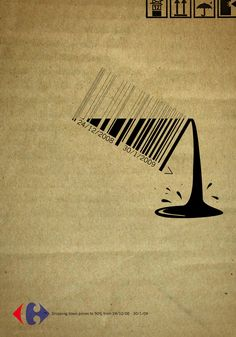 Great play on design. Carrefour bar code ad by Strategies, Cairo - website is Ads of the World adn has a large selection in different mediums Barcode Art, Barcode Design, Typography Design, Creative Advertising, Advertising Design, Advertising Agency, Design Graphique, Art Graphique, Web Design