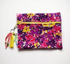 4bd8880b60d5 Floral pattern clutch with tassel   cute pencil bag by LaPasoBien Pencil  Bags