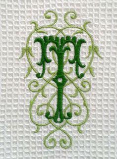 Monogrammed spa weave towel.