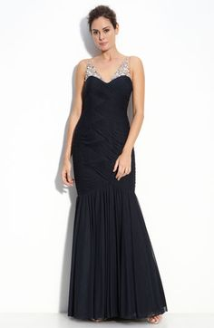 Adrianna Papell Illusion Bodice Chiffon Mermaid Gown available at #Nordstrom