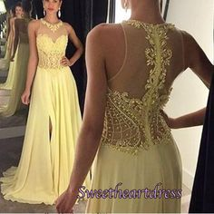 2016 beaded yellow lace chiffon prom dress for teens, ball gown, prom dresses long