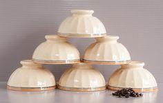 6 Large French cafe au lait bowls. Ribbed Cafe au lait bowls, cream color and stripes