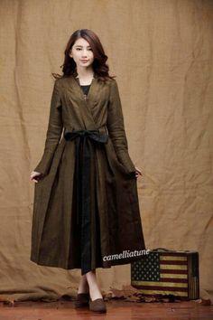 Linen Winter Dress in green / Long Pleated Dress by camelliatune