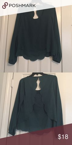 Francesca's Scalloped Blouse Beautiful emerald green size medium blouse from Francesca's with scalloped bottom and back. Worn twice, excellent condition! Francesca's Collections Tops Blouses