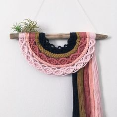 E a r t h ~ Upside down rainbow feather wall hanging - Maternity Macrame Wall Hanging Patterns, Macrame Art, Macrame Projects, Macrame Patterns, Yarn Wrapped Bottles, Diy Hammock, Yarn Crafts, Textiles, Knitting
